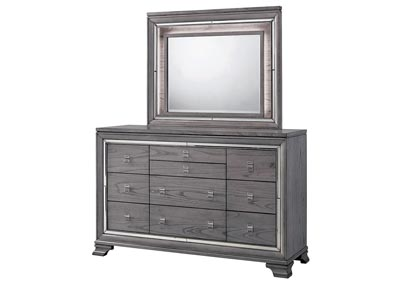 Alanis Light Gray Mirror Trim Dresser w/Mirror