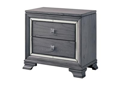 Alanis Light Gray Nightstand w/Mirror Trim