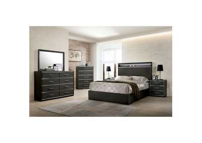 Camryn Warm Gray Chrome Trim/LED Eastern King Platform Bed w/Dresser and Mirror