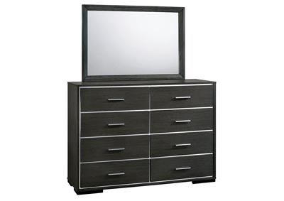 Camryn Warm Gray Chrome Trim Dresser w/Mirror