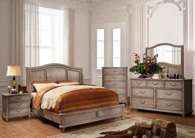 Belgrade II Rustic Natural Tone Eastern King Platform Bed w/Dresser, Mirror and Drawer Chest