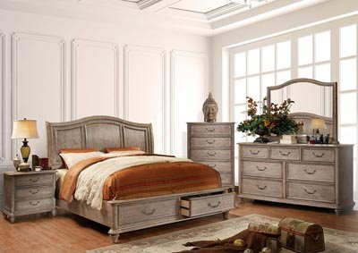 Belgrade I Rustic Natural Tone Queen Platform Storage Bed w/Dresser and Mirror