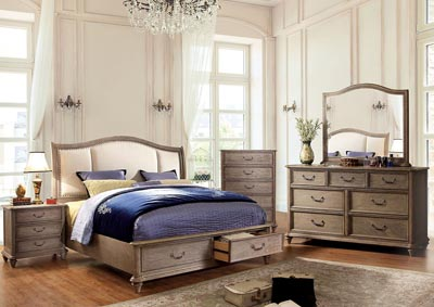Belgrade I Rustic Natural Tone Queen Upholstered Storage/Platform Bed w/Dresser, Mirror and Drawer Chest