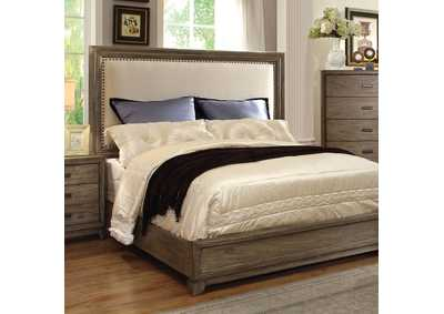 Antler Natural Ash California King Upholstered Platform Bed w/Dresser, Mirror, Drawer Chest, and Nightstand