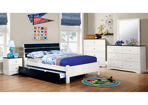 Kimmel Blue & White Full Platform Bed w/Dresser and Mirror