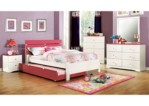 Kimmel Pink & White Twin Platform Bed w/Dresser and Mirror