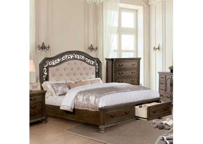 Persephone Rustic Natural Queen Storage Bed