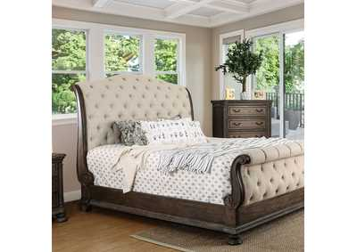 Lysandra Rustic Natural Upholstered Sleigh Queen Bed