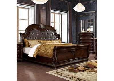 Fromberg Brown Cherry Queen Sleigh Bed