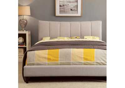 Ennis Beige Upholstered Twin Bed