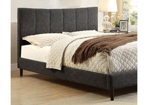 Ennis Dark Gray Upholstered Queen Bed