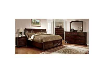 Northville Dark Cherry California King Storage Platform Bed w/Dresser, Mirror, Drawer Chest, and Nightstand