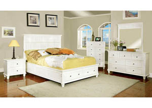 Willow Creek White California King Storage Bed