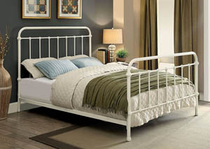 Iria Vintage White California King Platform Bed