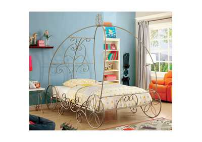 Enchant Champagne & White Twin Carriage Bed