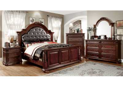 Esperia Brown Cherry Queen Upholstered Platform Bed w/Dresser, Mirror, Drawer Chest, and Nightstand