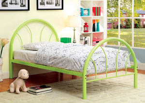 Rainbow Green High Headboard Twin Metal Platform Bed