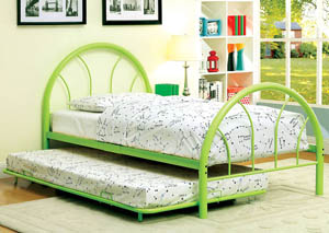 Rainbow Green High Headboard Full Metal Platform Bed w/Trundle