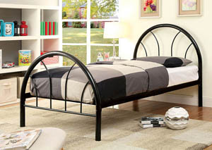 Rainbow Black High Headboard Full Metal Platform Bed