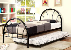 Rainbow Black High Headboard Twin Metal Platform Bed w/Trundle