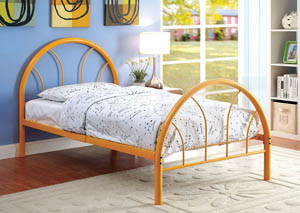 Rainbow Orange High Headboard Twin Metal Platform Bed