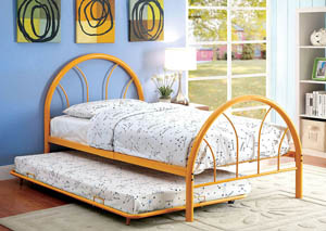 Rainbow Orange High Headboard Full Metal Platform Bed w/Trundle