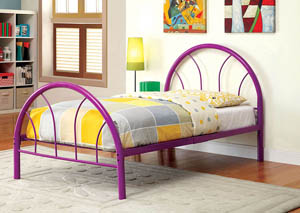 Rainbow Purple High Headboard Twin Metal Platform Bed