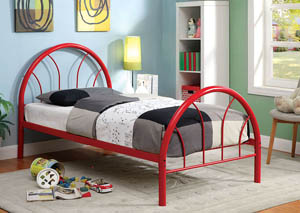 Rainbow Red High Headboard Full Metal Platform Bed