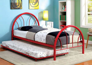 Rainbow Red High Headboard Full Metal Platform Bed w/Trundle