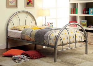 Rainbow Silver High Headboard Full Metal Platform Bed