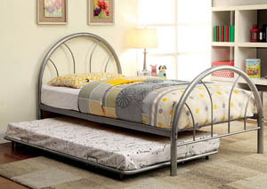 Rainbow Silver High Headboard Full Metal Platform Bed w/Trundle