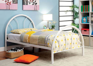 Rainbow White High Headboard Full Metal Platform Bed