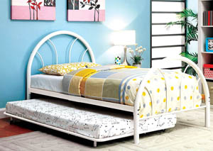 Rainbow White High Headboard Full Metal Platform Bed w/Trundle