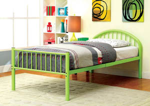Rainbow Green Low Headboard Full Metal Platform Bed