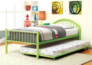 Rainbow Green Low Headboard Full Metal Platform Bed w/Trundle
