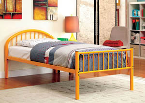 Rainbow Orange Low Headboard Twin Metal Platform Bed