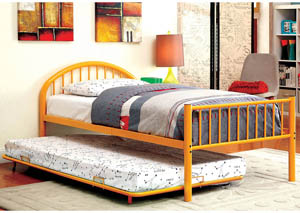 Rainbow Orange Low Headboard Full Metal Platform Bed w/Trundle