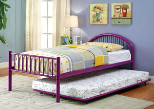 Rainbow Purple Low Headboard Full Metal Platform Bed w/Trundle