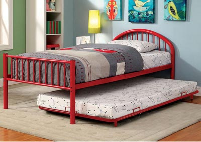 Rainbow Red Low Headboard Full Metal Platform Bed w/Trundle