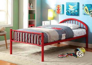 Rainbow Red Low Headboard Full Metal Platform Bed
