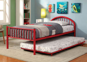 Rainbow Red Low Headboard Twin Metal Platform Bed w/Trundle
