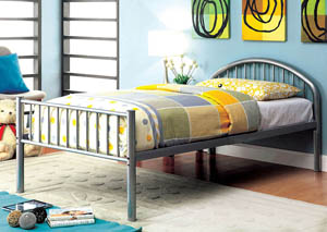 Rainbow Silver Low Headboard Full Metal Platform Bed