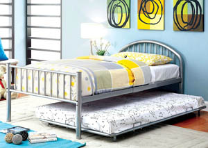 Rainbow Silver Low Headboard Full Metal Platform Bed w/Trundle