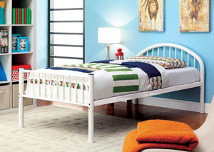 Rainbow White Low Headboard Full Metal Platform Bed