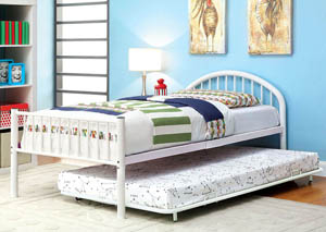 Rainbow White Low Headboard Twin Metal Platform Bed w/Trundle