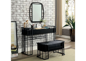 Charla Sand Black Metal Vanity Table