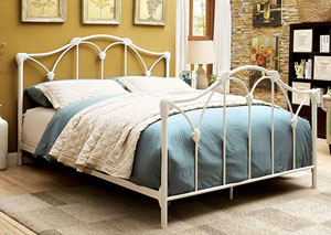 Cecilia White Metal California King Platform Bed