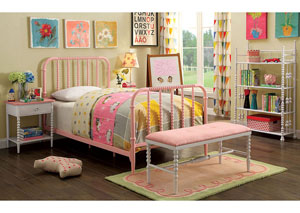 Coco Pink/White Twin Platform Bed