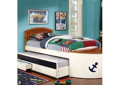 Voyager White/Oak/Navy Blue Twin Captain Bed w/Trundle and 2 Drawers