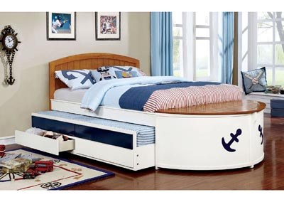Voyager White/Oak/Navy Blue Full Captain Bed w/Trundle and Drawers